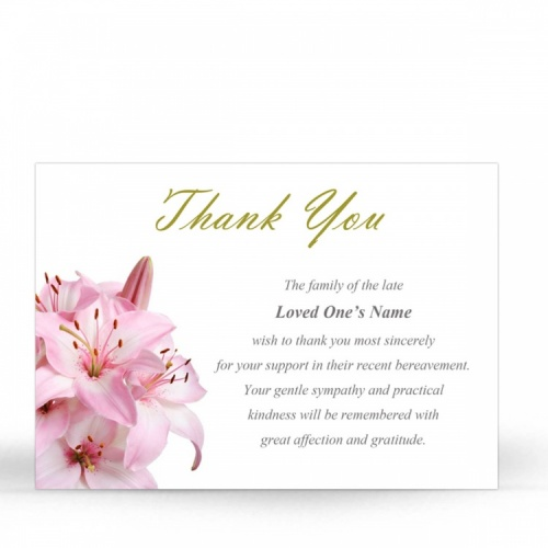 FLW02 Memorial Thank You Card