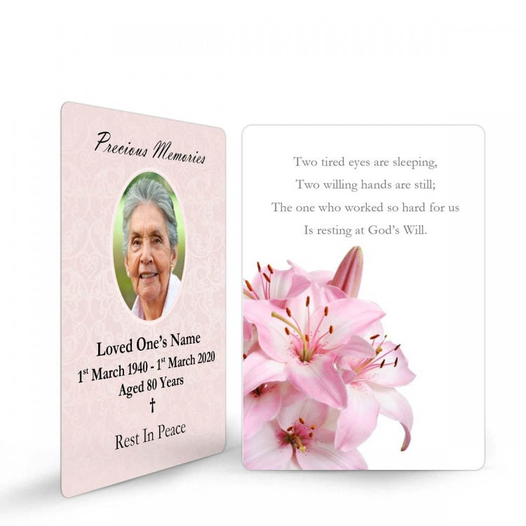 Flower Design Memorial Wallet Cards